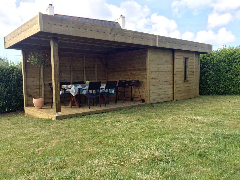 Abri De Jardin Habitable abri de jardin bardage bois - porte coulissante - terrasse